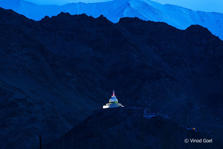 Monring view of Shanti Stupa at Leh
