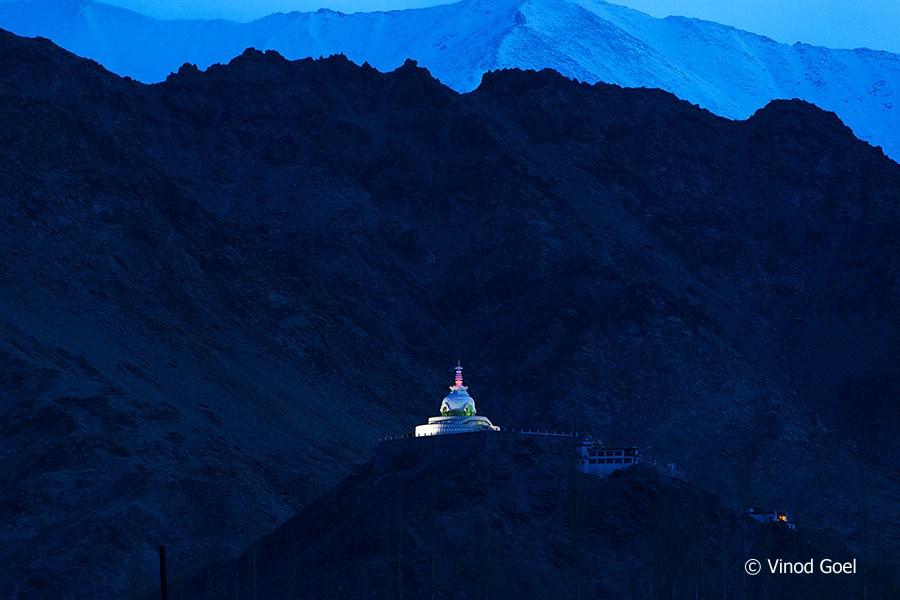 Monring view of Shanti Stupa at Leh